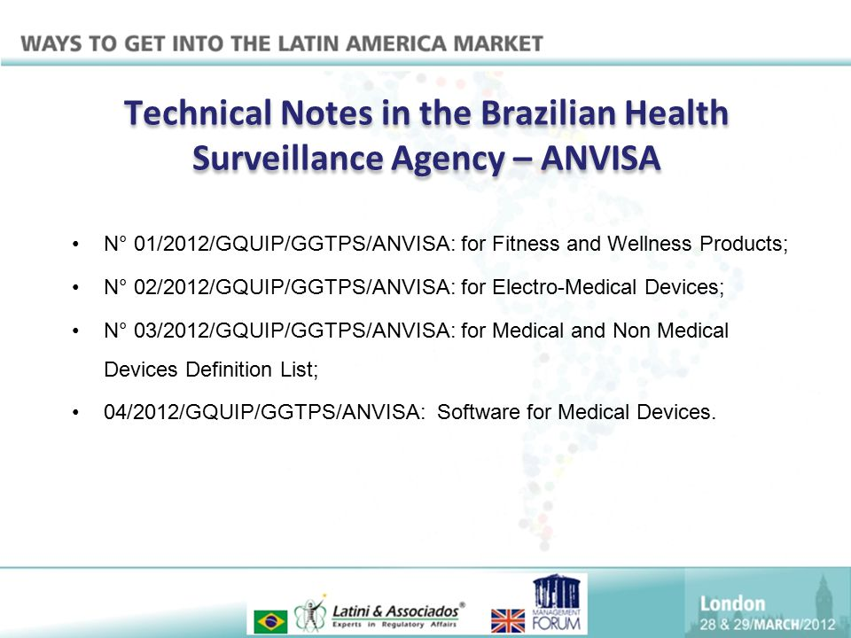 Technical Notes in the Brazilian Health Surveillance Agency – ANVISA N° 01/2012/GQUIP/GGTPS/ANVISA: for Fitness and Wellness Products; N° 02/2012/GQUI