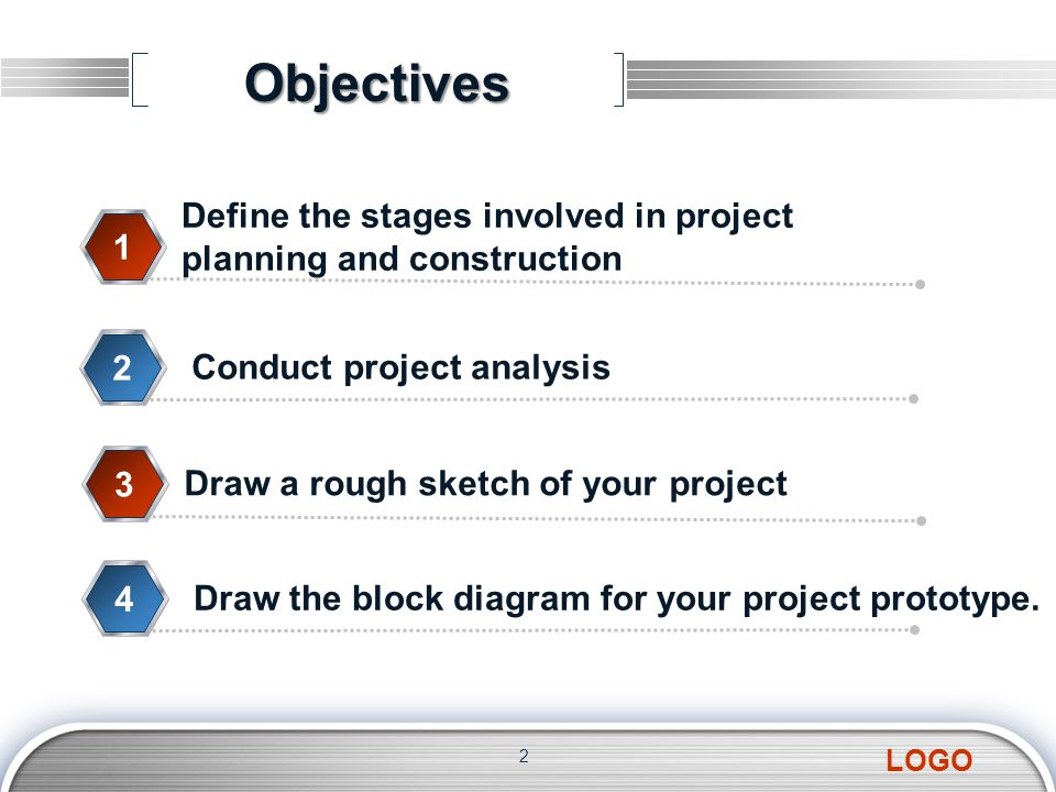 Objectives 2 Define the stages involved in project planning and construction 1 Conduct project analysis 2 Draw a rough sketch of your project 3 Draw the block diagram for your project prototype.