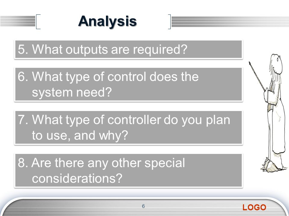 LOGO 6 5. What outputs are required? 6. What type of control does the system need? 6. What type of control does the system need? 7. What type of contr