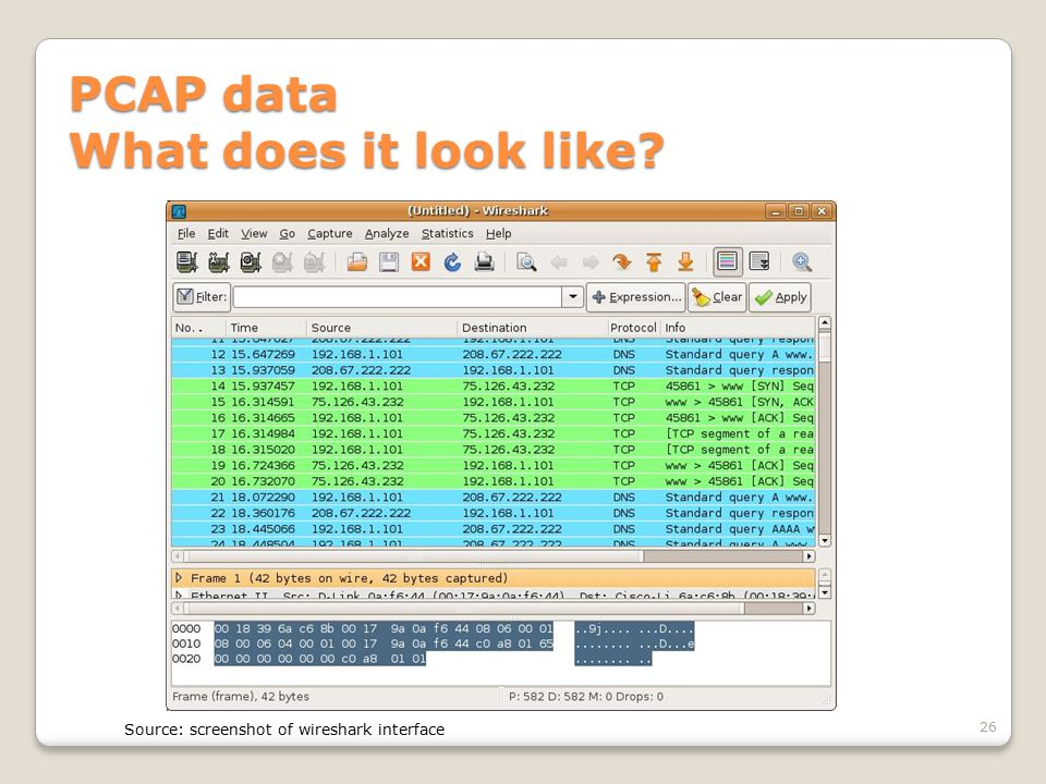 PCAP data What does it look like? 26 Source: screenshot of wireshark interface