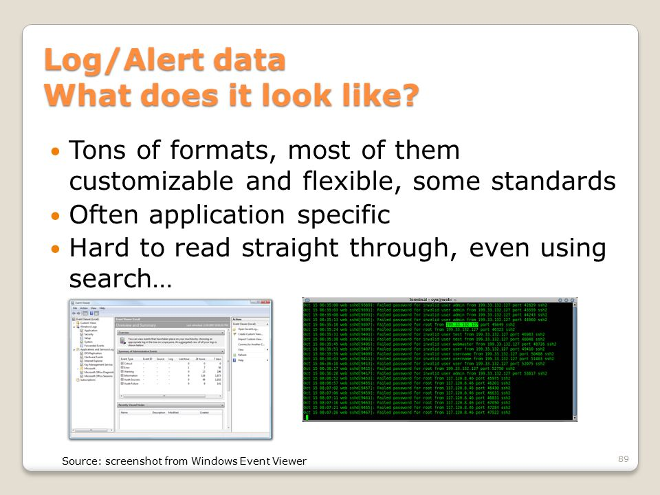 Log/Alert data What does it look like? Tons of formats, most of them customizable and flexible, some standards Often application specific Hard to read