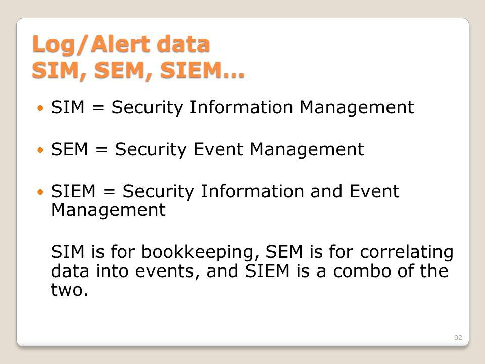 Log/Alert data SIM, SEM, SIEM… SIM = Security Information Management SEM = Security Event Management SIEM = Security Information and Event Management