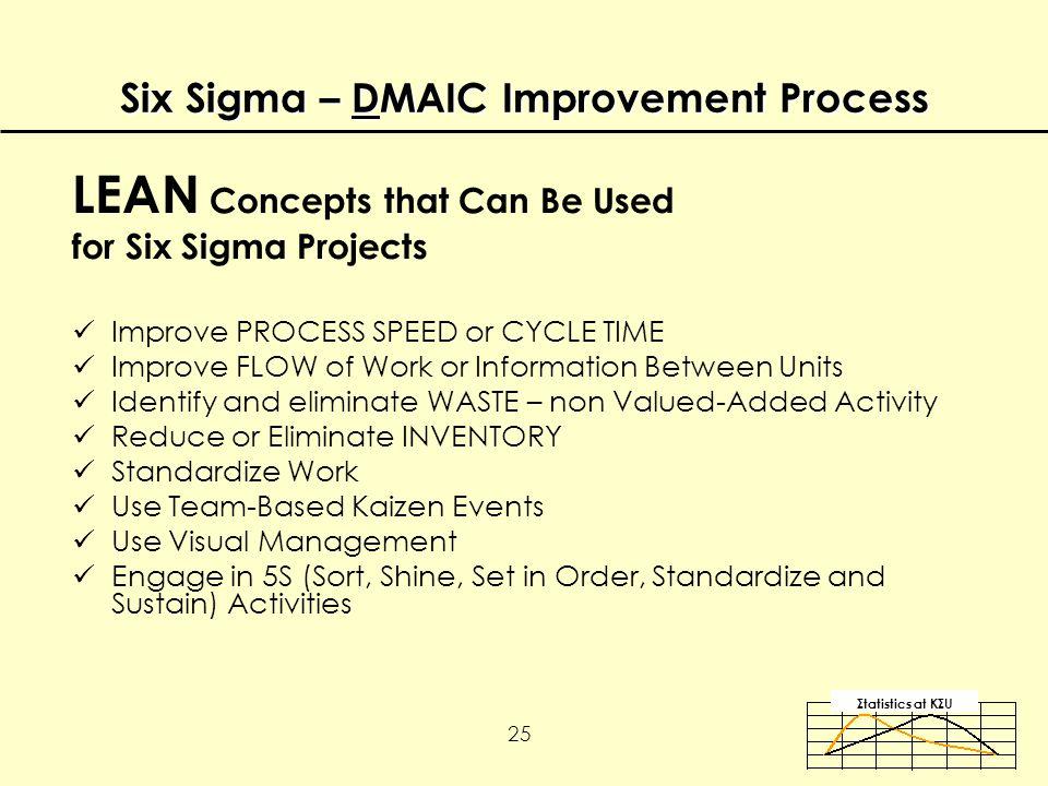 Σtatistics αt KΣU 25 Improve PROCESS SPEED or CYCLE TIME Improve FLOW of Work or Information Between Units Identify and eliminate WASTE – non Valued-Added Activity Reduce or Eliminate INVENTORY Standardize Work Use Team-Based Kaizen Events Use Visual Management Engage in 5S (Sort, Shine, Set in Order, Standardize and Sustain) Activities LEAN Concepts that Can Be Used for Six Sigma Projects Six Sigma – DMAIC Improvement Process
