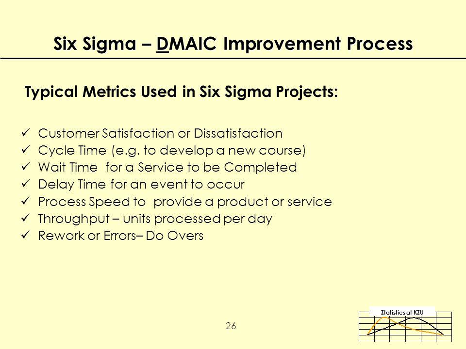 Σtatistics αt KΣU 26 Typical Metrics Used in Six Sigma Projects: Customer Satisfaction or Dissatisfaction Cycle Time (e.g.