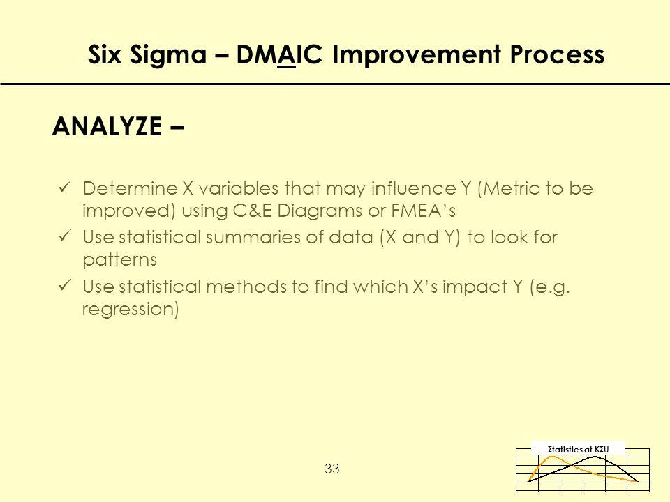 Σtatistics αt KΣU 33 Determine X variables that may influence Y (Metric to be improved) using C&E Diagrams or FMEA's Use statistical summaries of data (X and Y) to look for patterns Use statistical methods to find which X's impact Y (e.g.