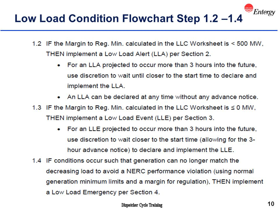 10 Low Load Condition Flowchart Step 1.2 –1.4