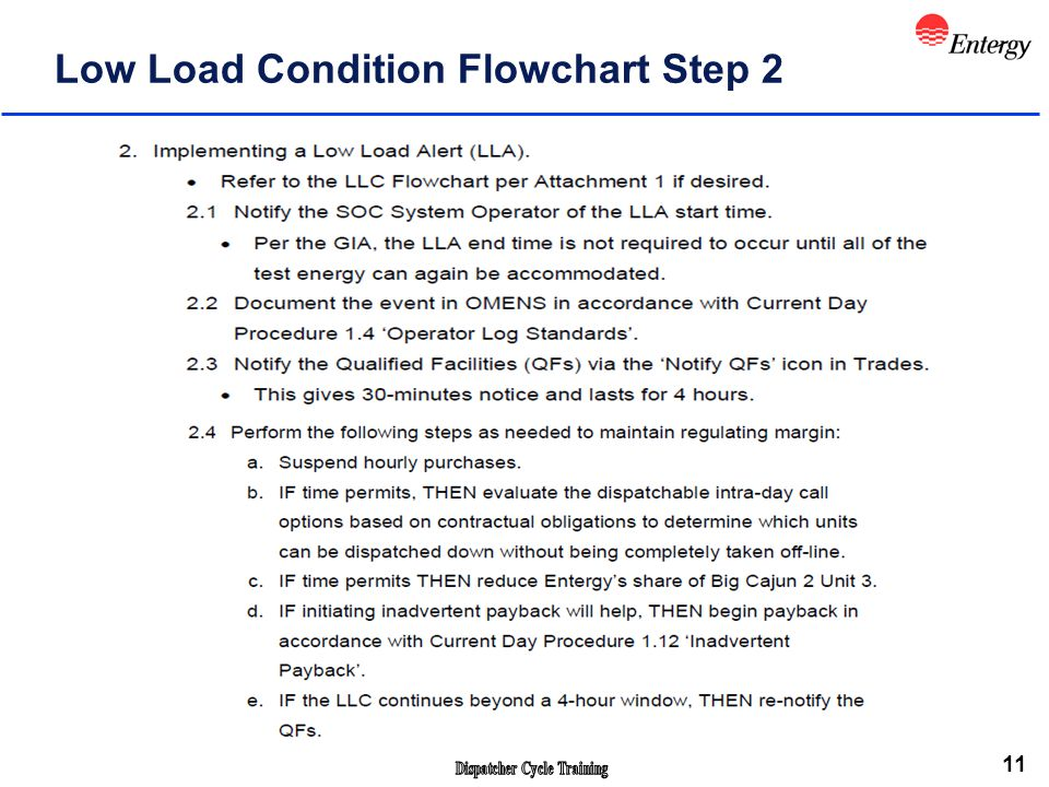 11 Low Load Condition Flowchart Step 2