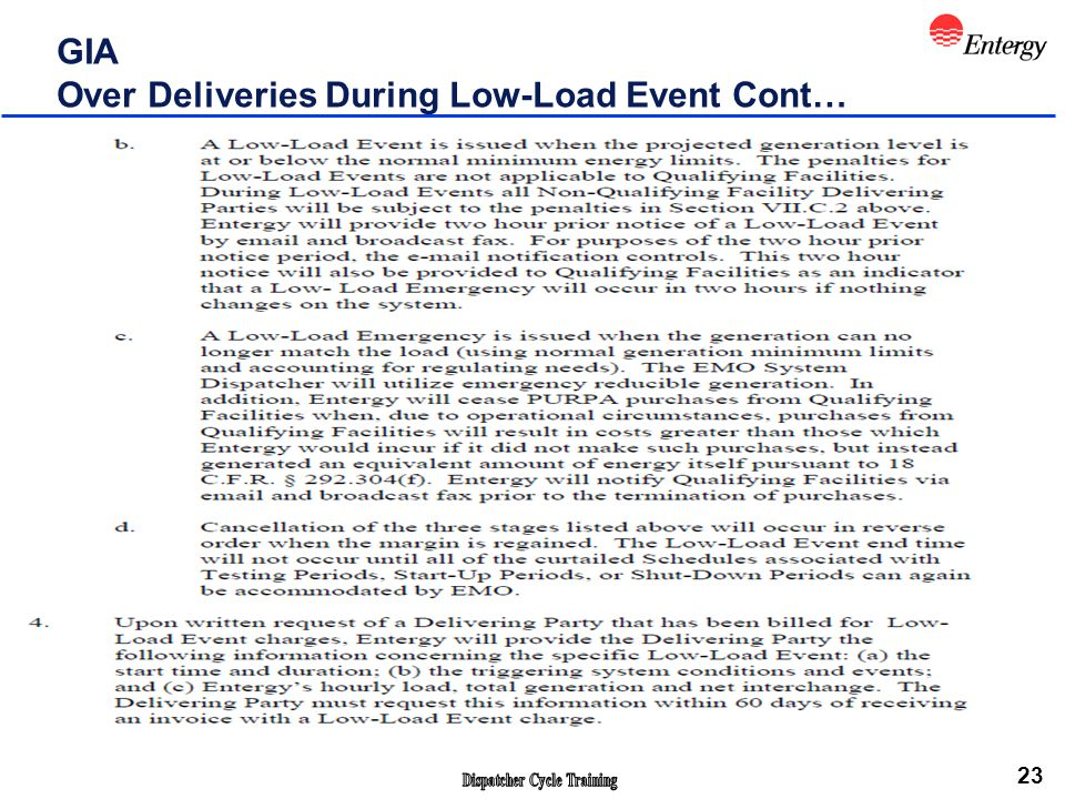 23 GIA Over Deliveries During Low-Load Event Cont…