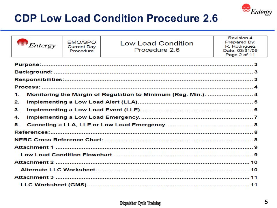 5 CDP Low Load Condition Procedure 2.6