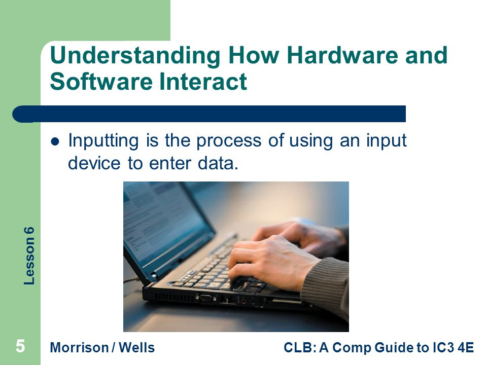 Lesson 6 Morrison / WellsCLB: A Comp Guide to IC3 4E 666 Understanding How Hardware and Software Interact (continued) The Role of Software: Software (or a program) is programming code written to provide instructions to the hardware so it can perform tasks.