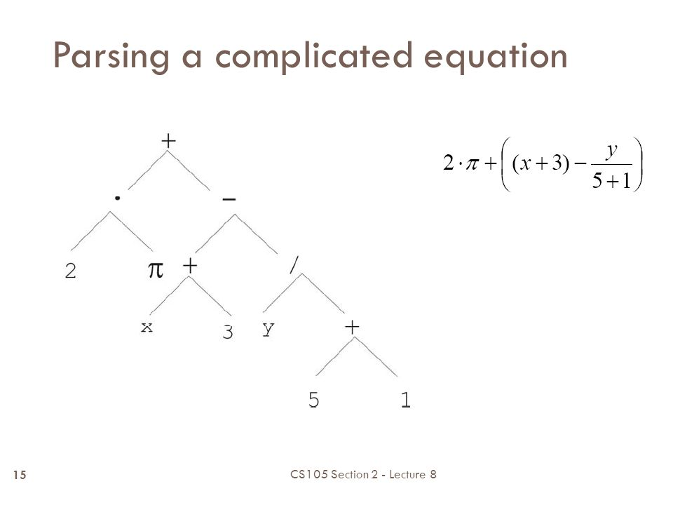 Parsing a complicated equation CS105 Section 2 - Lecture 8 14