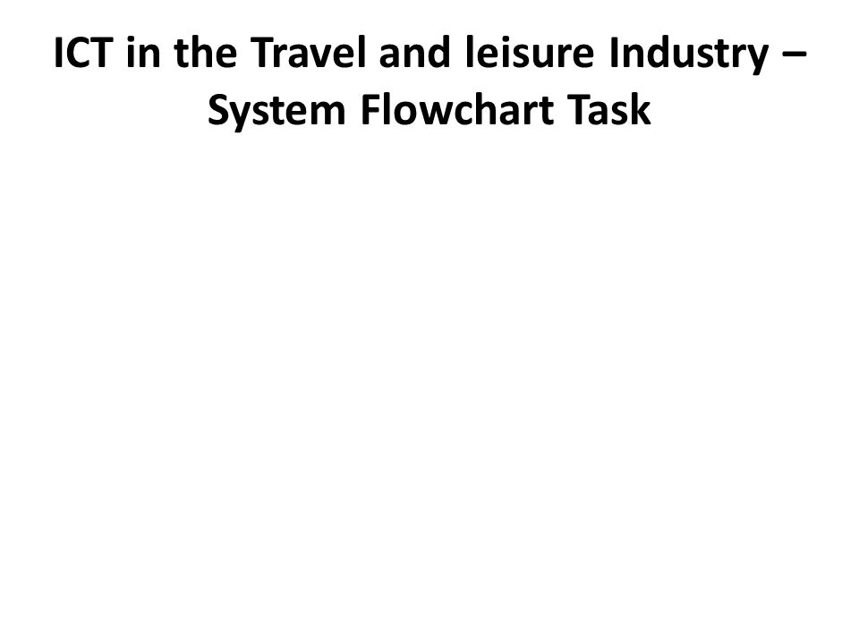 ICT in the Travel and leisure Industry – System Flowchart Task