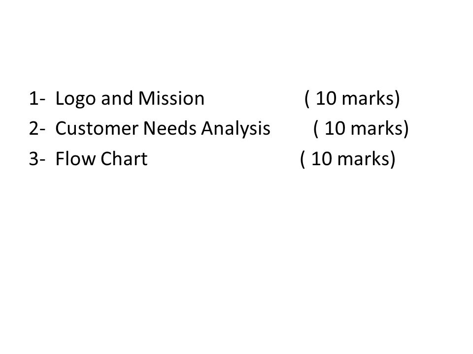 1- Logo and Mission ( 10 marks) 2- Customer Needs Analysis ( 10 marks) 3- Flow Chart ( 10 marks)