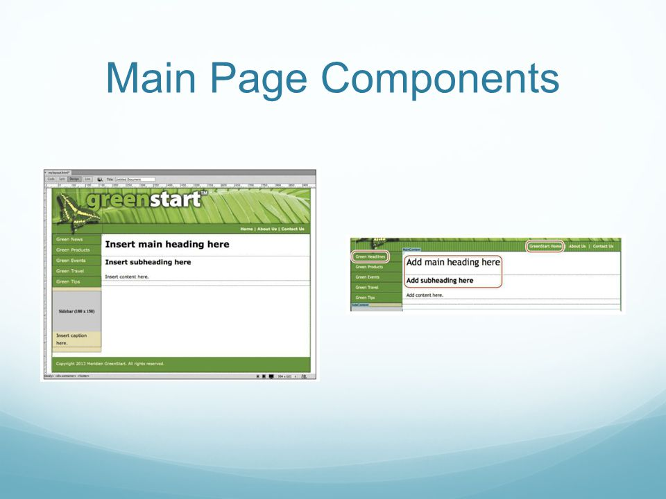 Main Page Components