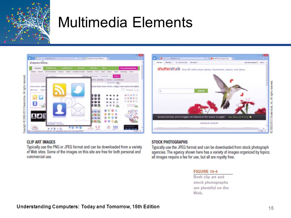 Multimedia Elements Understanding Computers: Today and Tomorrow, 15th Edition 15