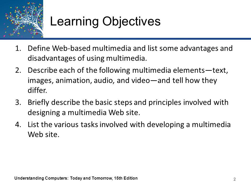 Learning Objectives 1.Define Web-based multimedia and list some advantages and disadvantages of using multimedia. 2.Describe each of the following mul