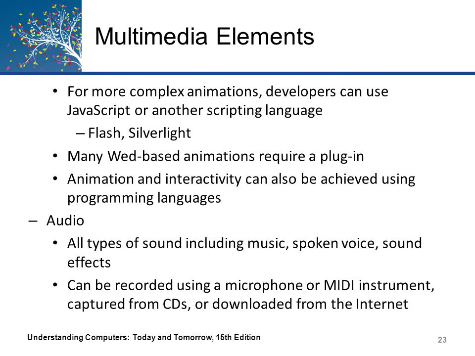 Multimedia Elements For more complex animations, developers can use JavaScript or another scripting language – Flash, Silverlight Many Wed-based anima