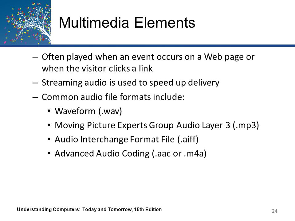 Multimedia Elements – Often played when an event occurs on a Web page or when the visitor clicks a link – Streaming audio is used to speed up delivery