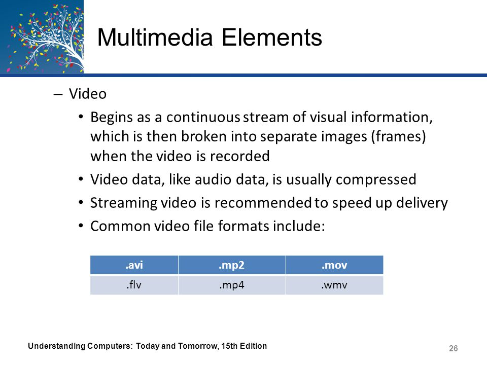 Multimedia Elements – Video Begins as a continuous stream of visual information, which is then broken into separate images (frames) when the video is