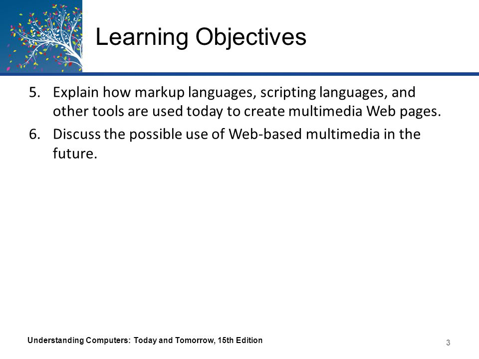 Learning Objectives 5.Explain how markup languages, scripting languages, and other tools are used today to create multimedia Web pages. 6.Discuss the