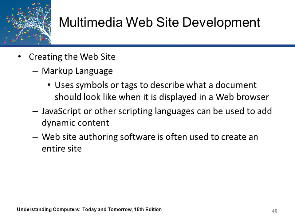 Multimedia Web Site Development Creating the Web Site – Markup Language Uses symbols or tags to describe what a document should look like when it is d