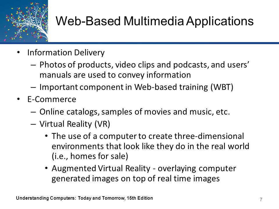 Web-Based Multimedia Applications Information Delivery – Photos of products, video clips and podcasts, and users' manuals are used to convey informati