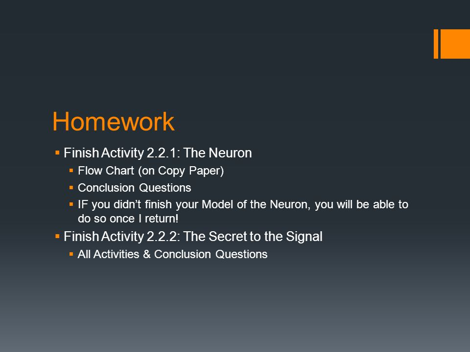 Homework  Finish Activity 2.2.1: The Neuron  Flow Chart (on Copy Paper)  Conclusion Questions  IF you didn't finish your Model of the Neuron, you