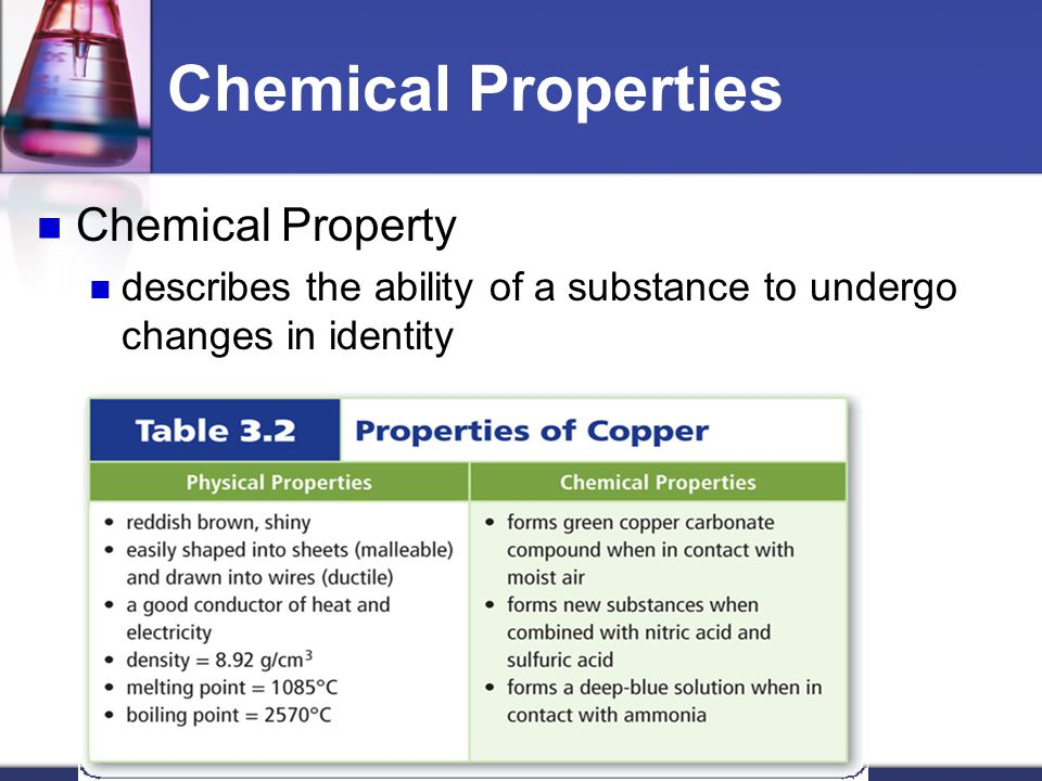 Chemical Properties Chemical Property describes the ability of a substance to undergo changes in identity