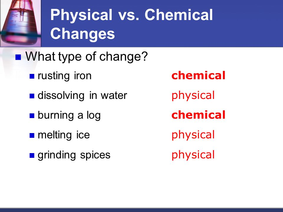 Physical vs. Chemical Changes What type of change.