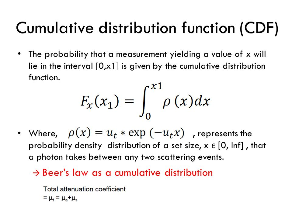 * CDFs and Random Sampling* The CDF is always uniformly distributed on the interval [0,1].