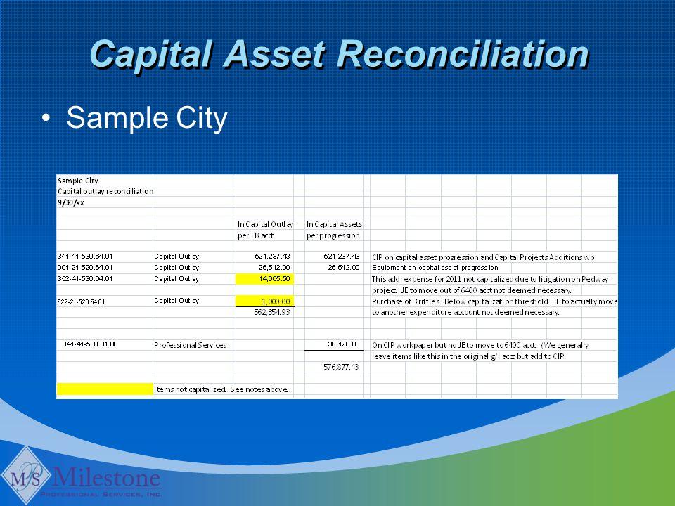 Capital Asset Reconciliation Sample City
