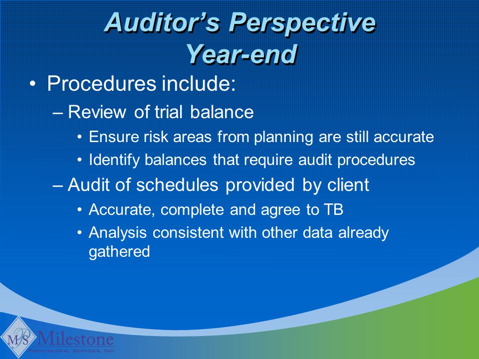 Auditor's Perspective Year-end Procedures include: –Review of trial balance Ensure risk areas from planning are still accurate Identify balances that