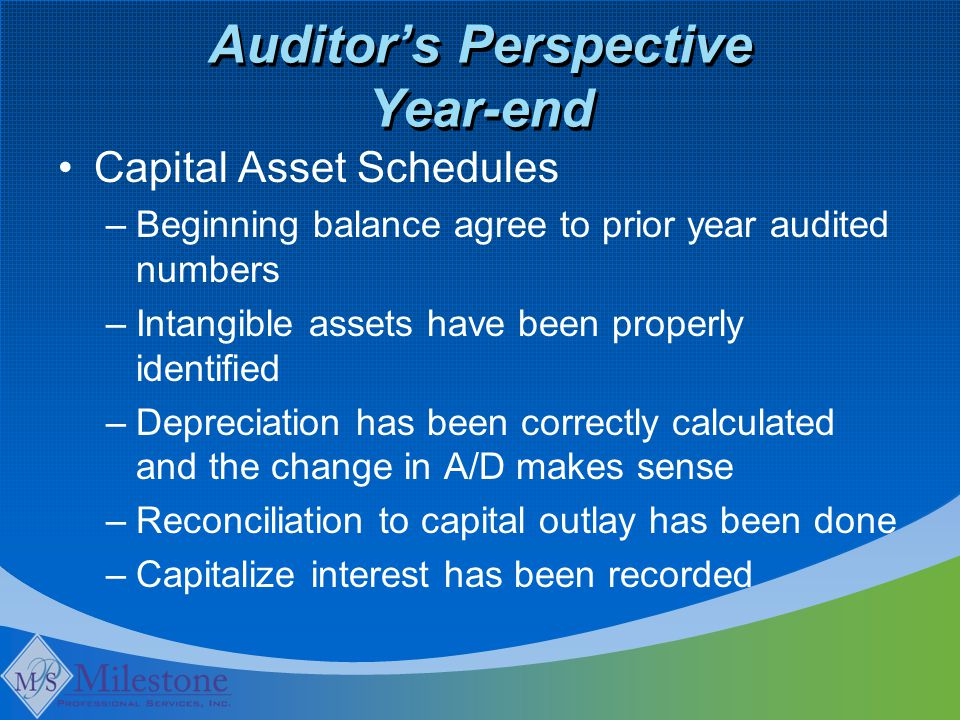 Auditor's Perspective Year-end Capital Asset Schedules –Beginning balance agree to prior year audited numbers –Intangible assets have been properly id