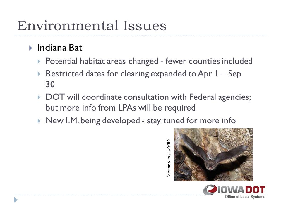 Environmental Issues  Indiana Bat  Potential habitat areas changed - fewer counties included  Restricted dates for clearing expanded to Apr 1 – Sep 30  DOT will coordinate consultation with Federal agencies; but more info from LPAs will be required  New I.M.