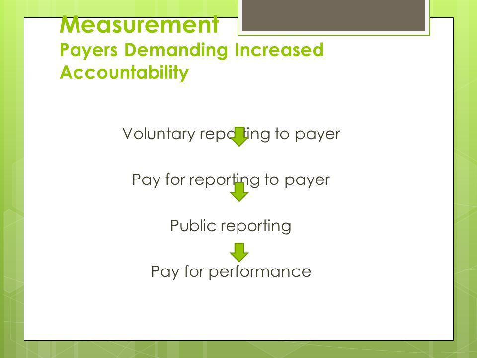 Measurement Payers Demanding Increased Accountability Voluntary reporting to payer Pay for reporting to payer Public reporting Pay for performance