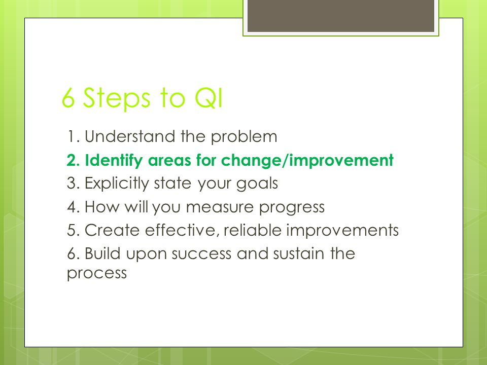 6 Steps to QI 1. Understand the problem 2. Identify areas for change/improvement 3. Explicitly state your goals 4. How will you measure progress 5. Cr