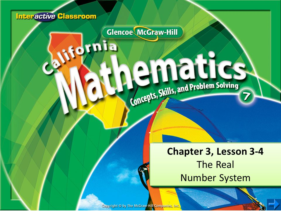 Chapter 3, Lesson 3-4 The Real Number System Chapter 3, Lesson 3-4 The Real Number System