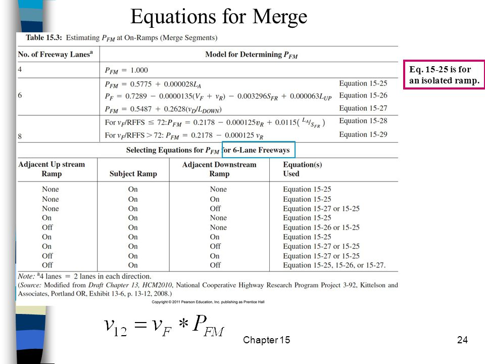 Chapter 1524 Eq. 15-25 is for an isolated ramp. Equations for Merge