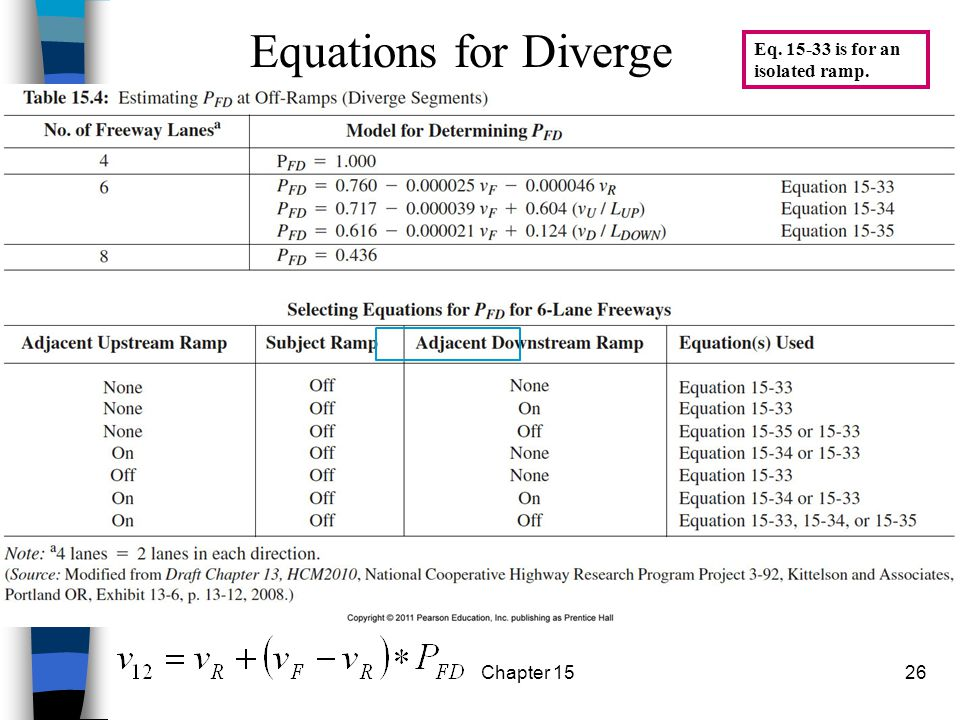 Chapter 1526 Eq. 15-33 is for an isolated ramp. Equations for Diverge