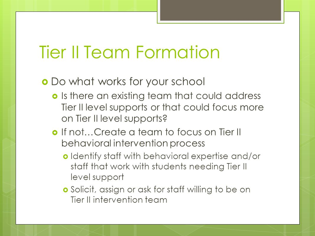 Tier II Team Formation  Do what works for your school  Is there an existing team that could address Tier II level supports or that could focus more on Tier II level supports.