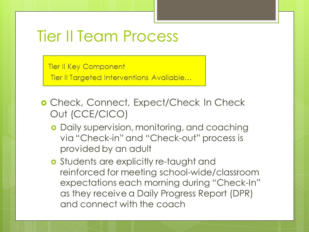 Tier II Team Process Tier II Key Component Tier II Targeted Interventions Available…  Check, Connect, Expect/Check In Check Out (CCE/CICO)  Daily supervision, monitoring, and coaching via Check-in and Check-out process is provided by an adult  Students are explicitly re-taught and reinforced for meeting school-wide/classroom expectations each morning during Check-In as they receive a Daily Progress Report (DPR) and connect with the coach