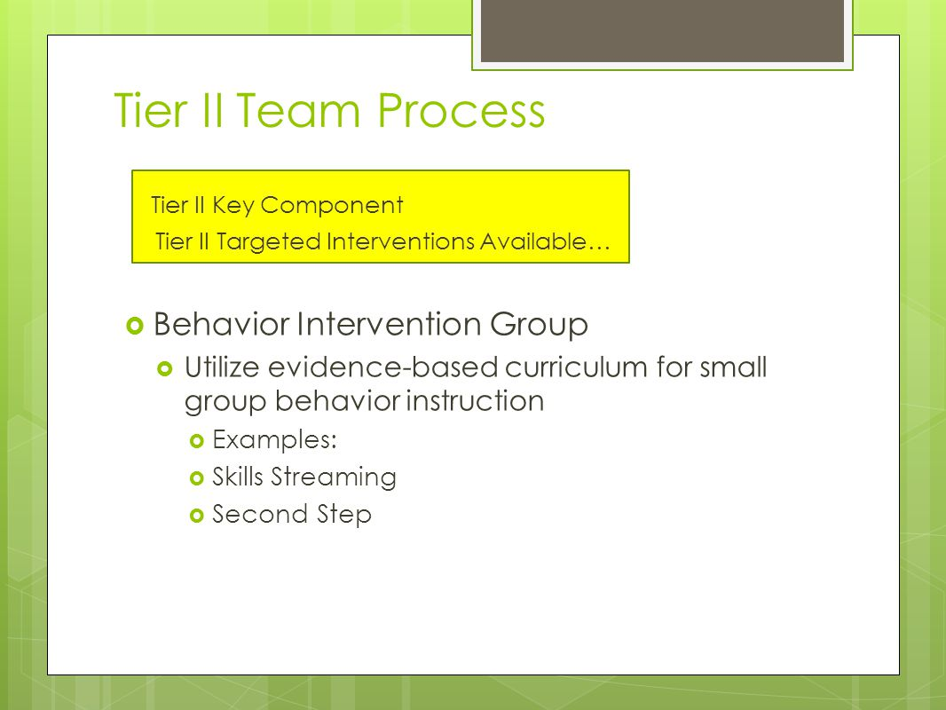 Tier II Team Process Tier II Key Component Tier II Targeted Interventions Available…  Behavior Intervention Group  Utilize evidence-based curriculum for small group behavior instruction  Examples:  Skills Streaming  Second Step