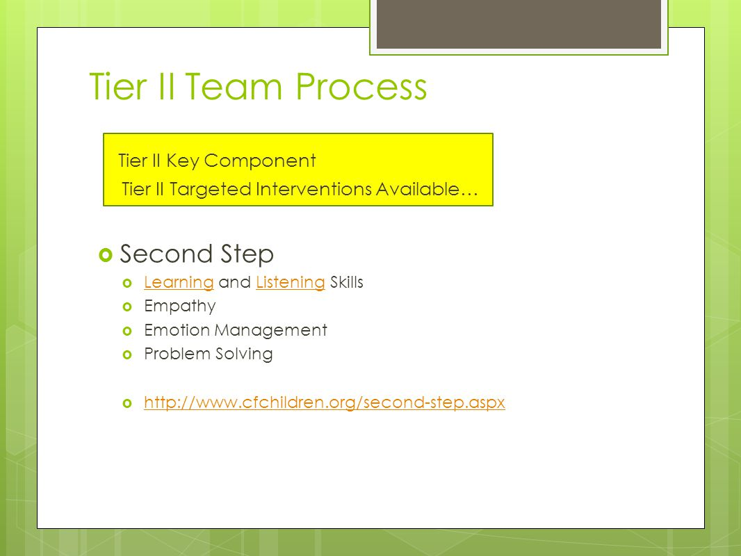 Tier II Team Process Tier II Key Component Tier II Targeted Interventions Available…  Second Step  Learning and Listening Skills LearningListening  Empathy  Emotion Management  Problem Solving  http://www.cfchildren.org/second-step.aspx http://www.cfchildren.org/second-step.aspx