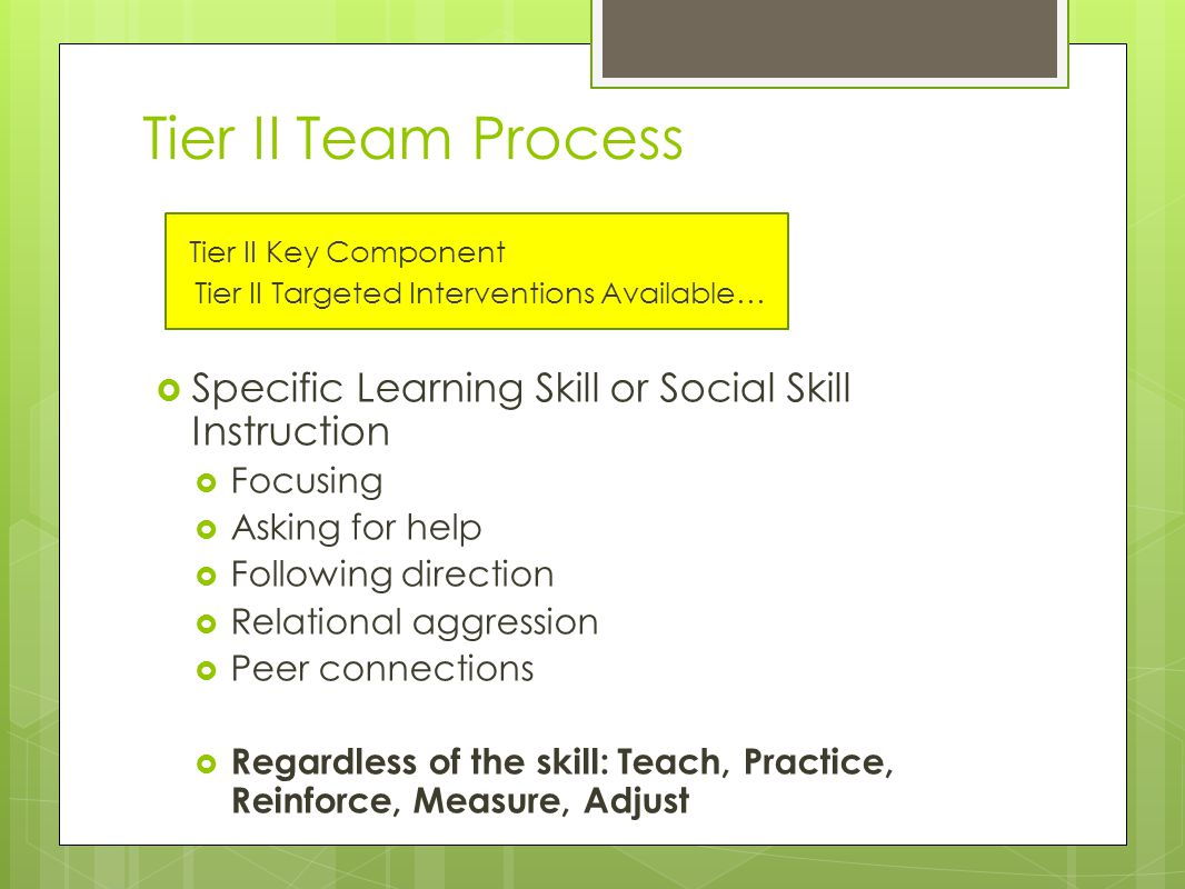 Tier II Team Process Tier II Key Component Tier II Targeted Interventions Available…  Specific Learning Skill or Social Skill Instruction  Focusing  Asking for help  Following direction  Relational aggression  Peer connections  Regardless of the skill: Teach, Practice, Reinforce, Measure, Adjust