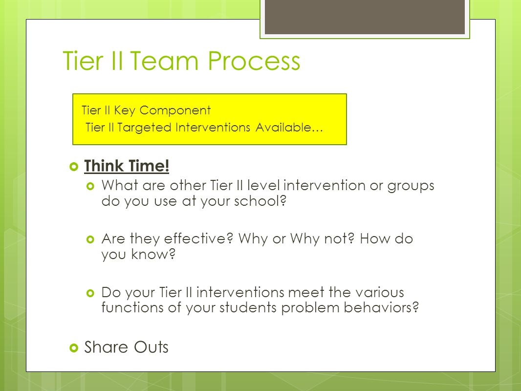 Tier II Team Process Tier II Key Component Tier II Targeted Interventions Available…  Think Time.