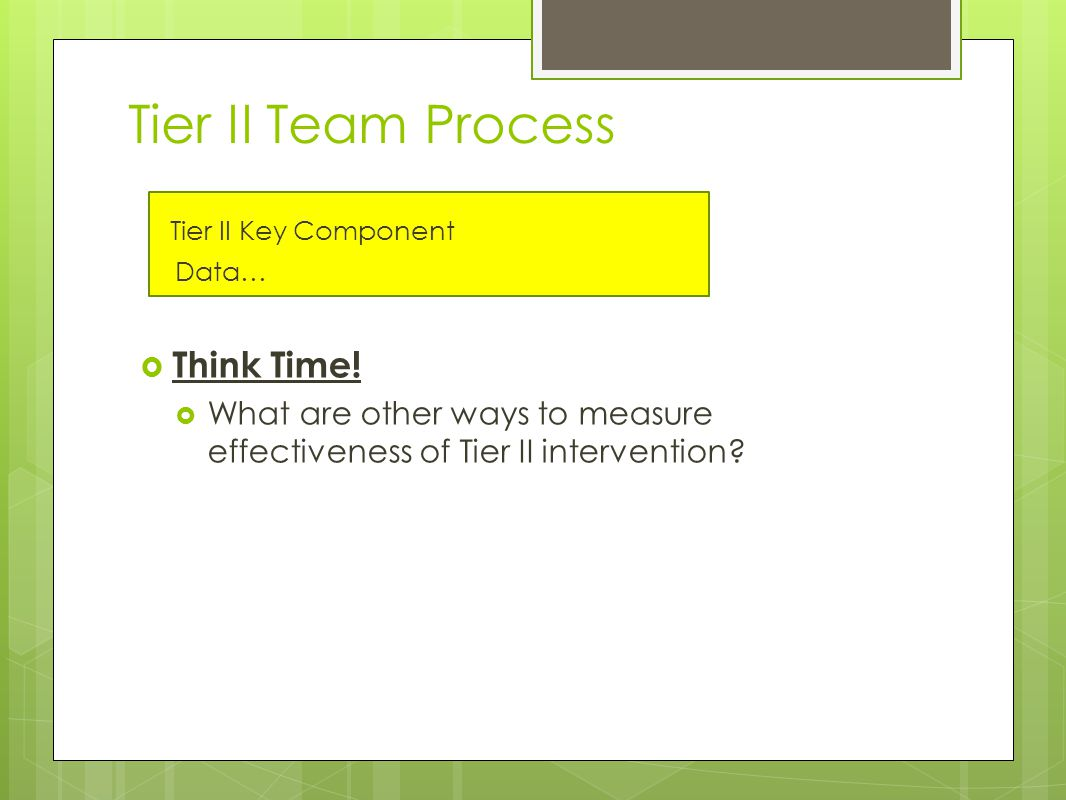 Tier II Team Process Tier II Key Component Data…  Think Time.