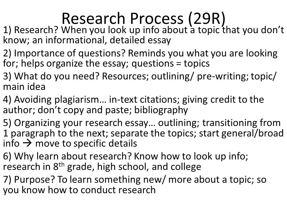 Research Process (29R) 1) Research.