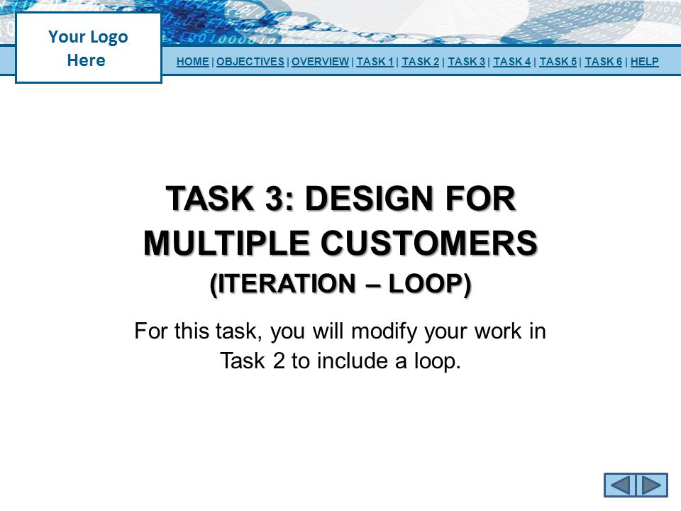 TASK 3: DESIGN FOR MULTIPLE CUSTOMERS (ITERATION – LOOP) For this task, you will modify your work in Task 2 to include a loop. HOMEHOME | OBJECTIVES |