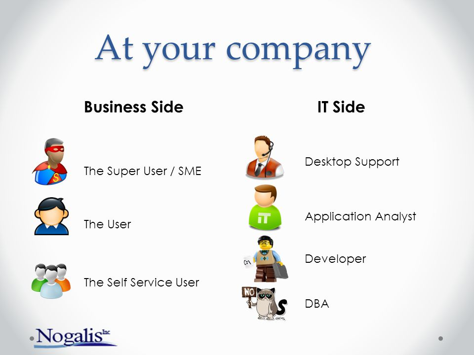 At your company The Super User / SME The Self Service User The User Desktop Support Application Analyst Developer DBA Business SideIT Side