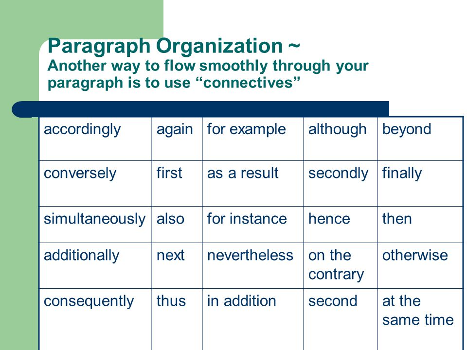 "Paragraph Organization ~ Another way to flow smoothly through your paragraph is to use ""connectives"" accordinglyagainfor examplealthoughbeyond convers"